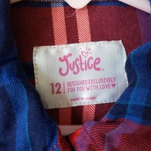 Justice Shirts & Tops - Justice plaid buttondown w/rhinestone pocket
